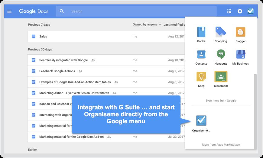 Integration in Google App menu