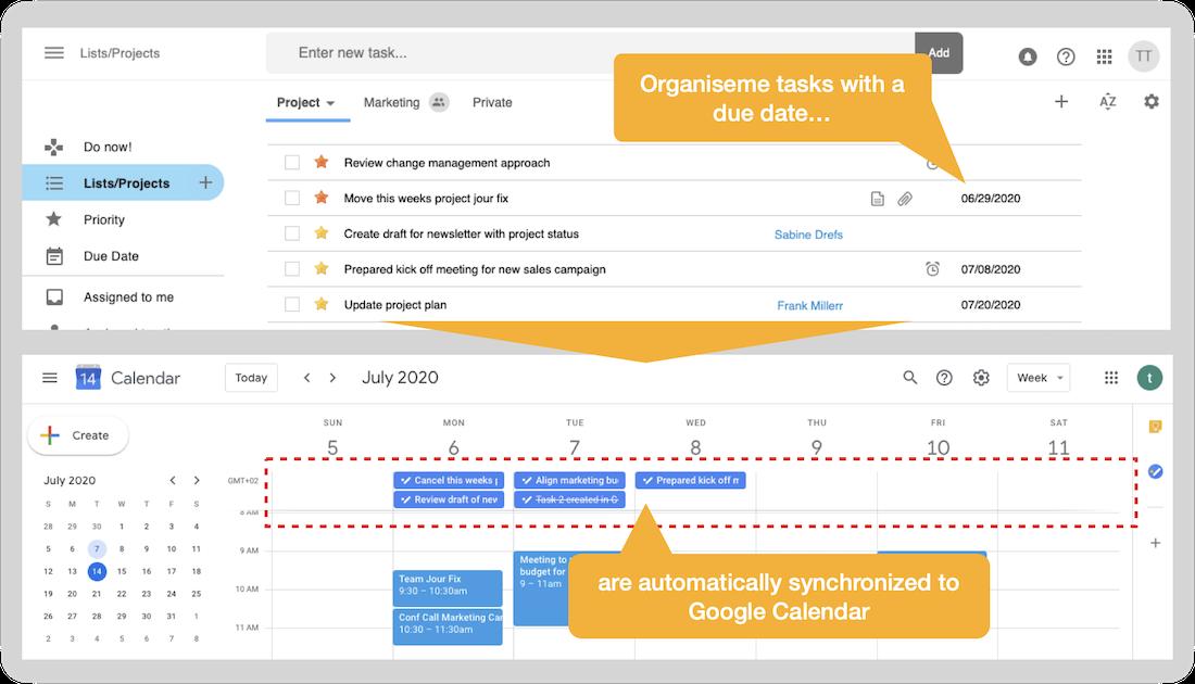 Integration in Google Calendar